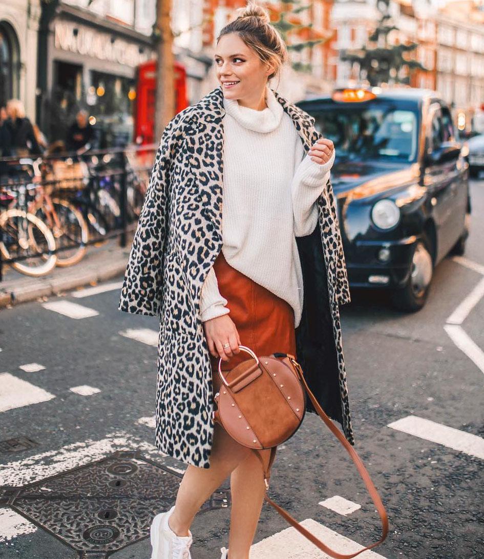 Леопардовые пальто и шубы. Примеры на модных блогерах рекомендации