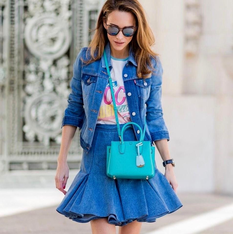 c1b37f2bf2c Короткая джинсовая юбка - 20 примеров на модных блогерах